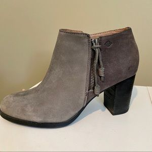 Sperry Top-Sider Women's Gray Leather Booties SZ 9